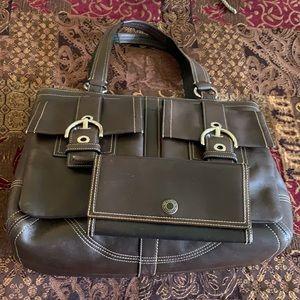 Coach XL leather bag & wallet w/ dust bag